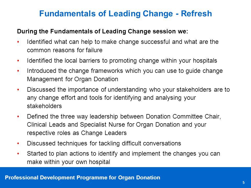 Professional Development Programme for Organ Donation Understanding the bigger picture 6 PDP Strategic Big Wins