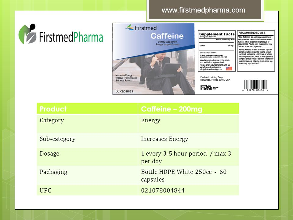 ProductCaffeine – 200mg CategoryEnergy Sub-categoryIncreases Energy Dosage1 every 3-5 hour period / max 3 per day PackagingBottle HDPE White 250cc - 60 capsules UPC021078004844 www.firstmedpharma.com