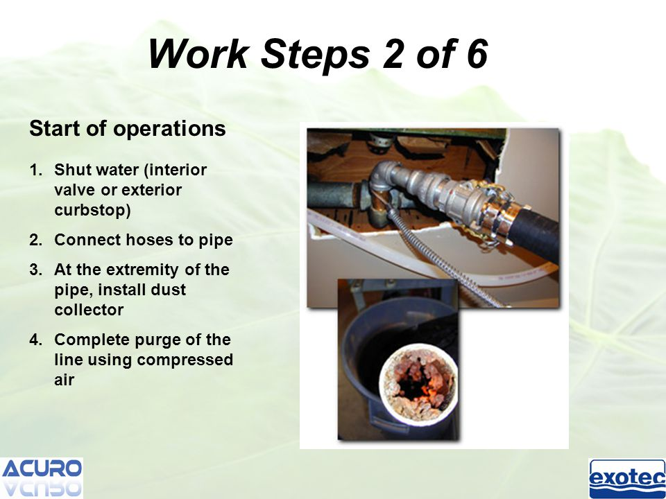 Tracing 1.Trace all pipe 2.Measure lengths 3.Evaluate quantity of epoxy required Work Steps 3 of 6