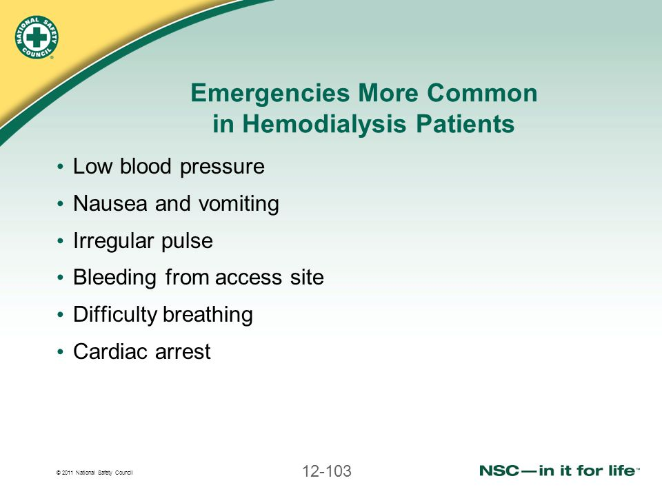 © 2011 National Safety Council 12-103 Emergencies More Common in Hemodialysis Patients Low blood pressure Nausea and vomiting Irregular pulse Bleeding