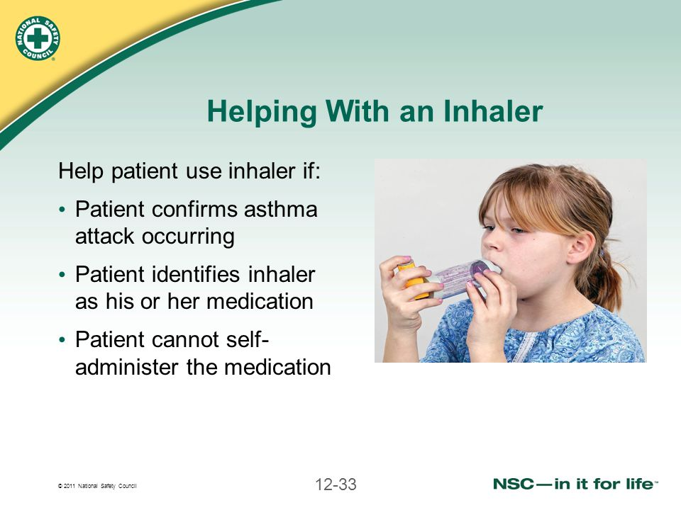 © 2011 National Safety Council 12-33 Helping With an Inhaler Help patient use inhaler if: Patient confirms asthma attack occurring Patient identifies