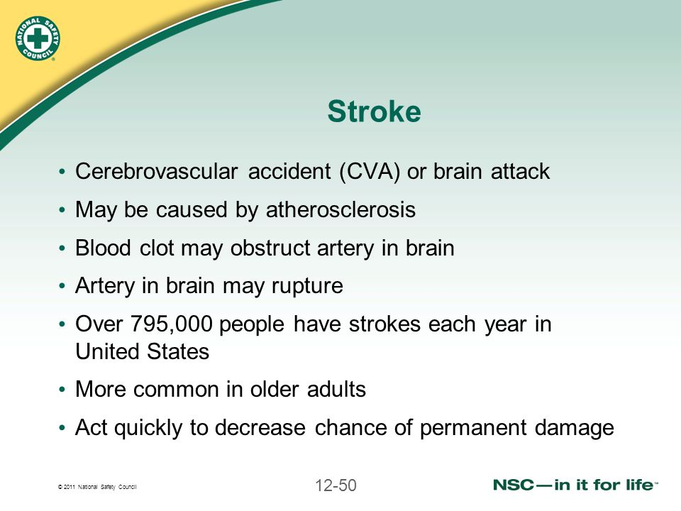 © 2011 National Safety Council 12-50 Stroke Cerebrovascular accident (CVA) or brain attack May be caused by atherosclerosis Blood clot may obstruct ar