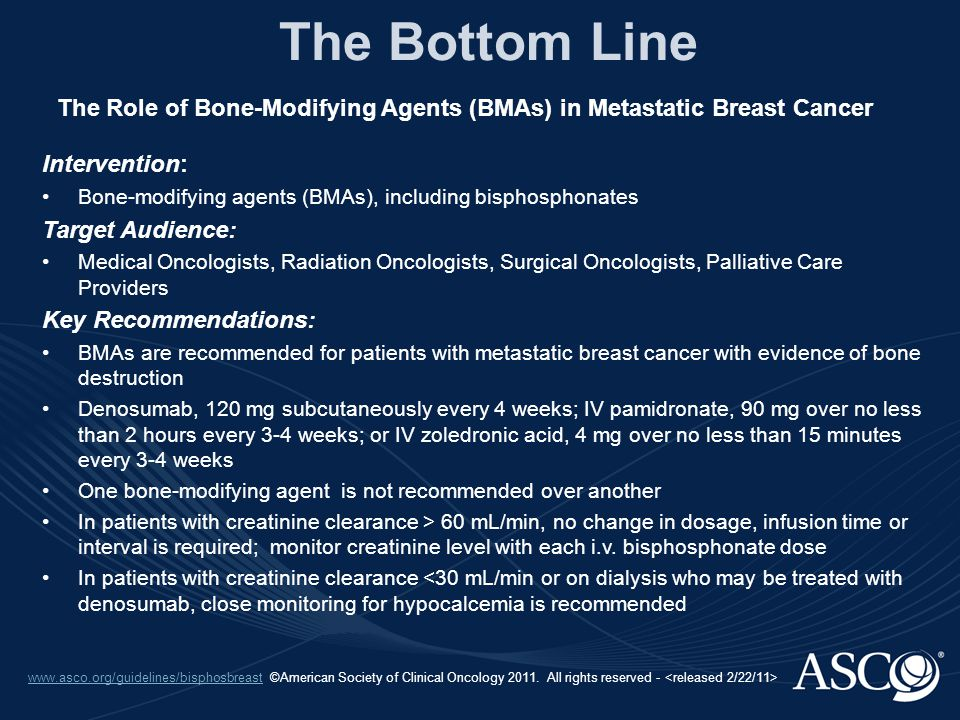 www.asco.org/guidelines/bisphosbreastwww.asco.org/guidelines/bisphosbreast ©American Society of Clinical Oncology 2011. All rights reserved - The Bott
