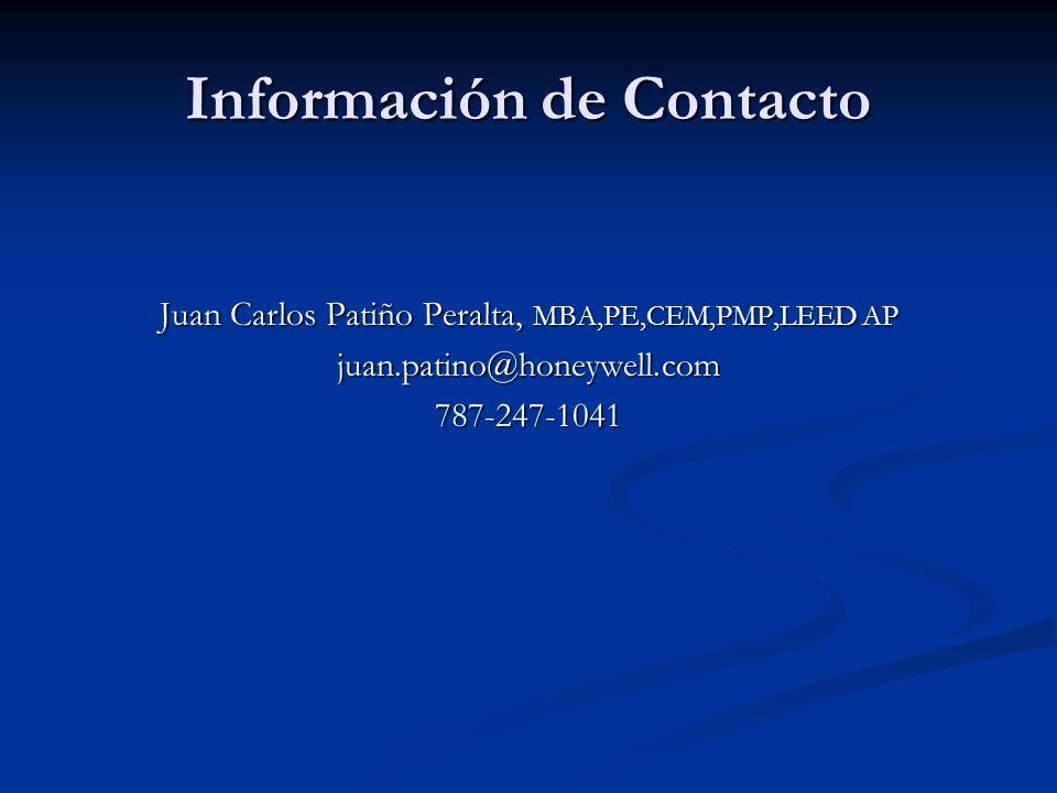 Información de Contacto Juan Carlos Patiño Peralta, MBA,PE,CEM,PMP,LEED AP juan.patino@honeywell.com787-247-1041