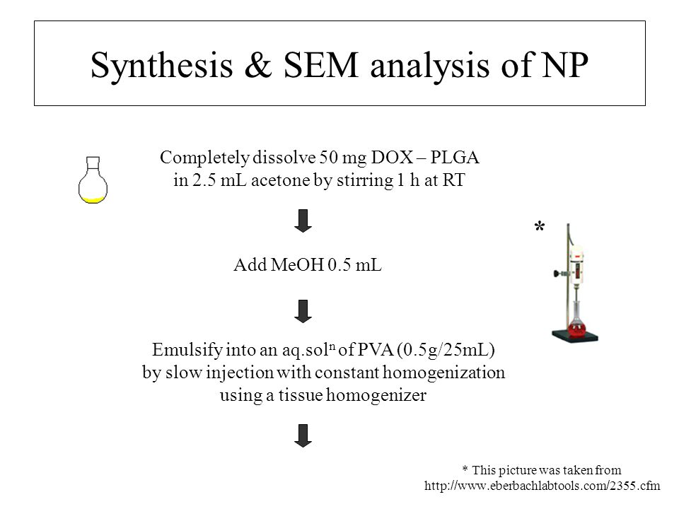 Synthesis & SEM analysis of NP Completely dissolve 50 mg DOX – PLGA in 2.5 mL acetone by stirring 1 h at RT Add MeOH 0.5 mL * This picture was taken f