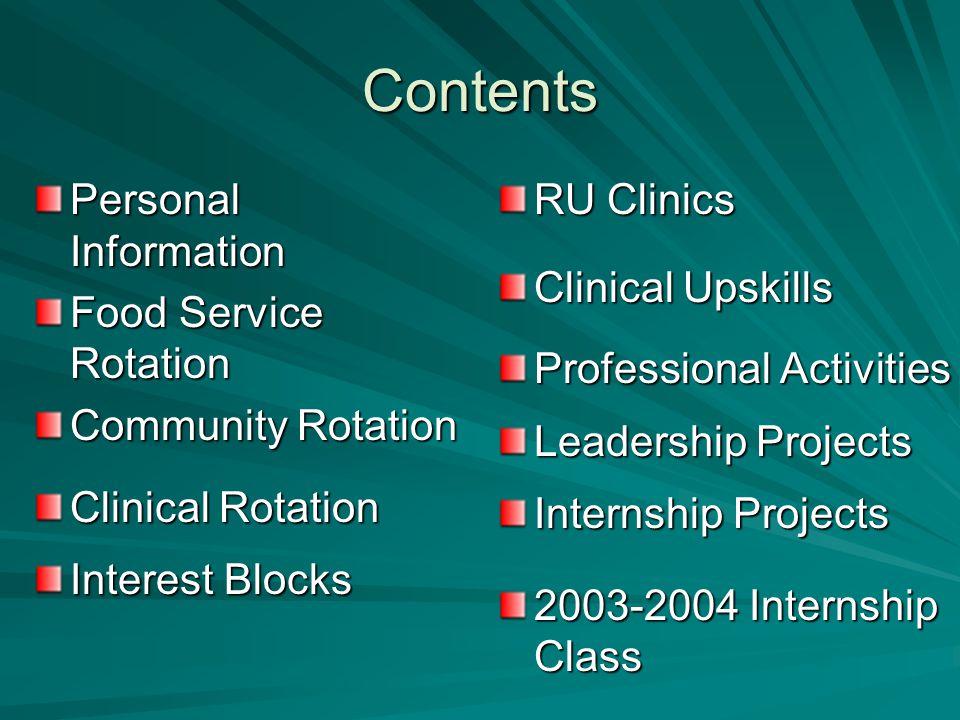 Contents Personal Information Food Service Rotation Community Rotation Clinical Rotation Interest Blocks RU Clinics Clinical Upskills Professional Activities Leadership Projects Internship Projects 2003-2004 Internship Class