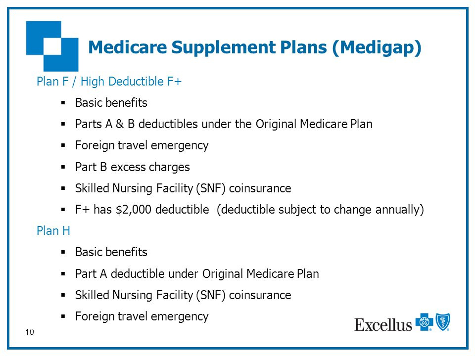 10 Medicare Supplement Plans (Medigap) Plan F / High Deductible F+  Basic benefits  Parts A & B deductibles under the Original Medicare Plan  Forei