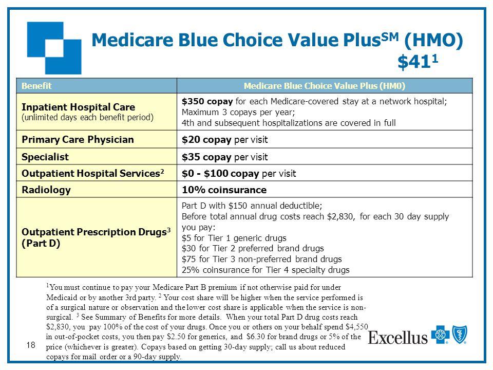 18 Medicare Blue Choice Value Plus SM (HMO) $41 1 BenefitMedicare Blue Choice Value Plus (HM0) Inpatient Hospital Care (unlimited days each benefit pe