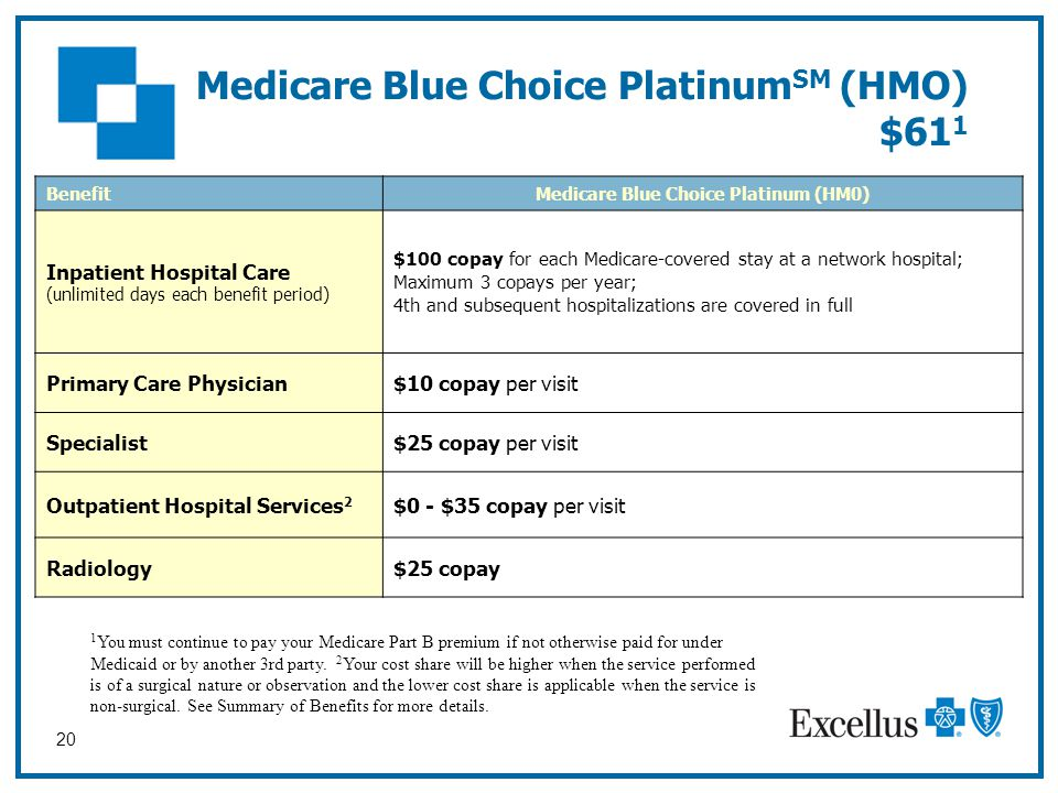 20 Medicare Blue Choice Platinum SM (HMO) $61 1 1 You must continue to pay your Medicare Part B premium if not otherwise paid for under Medicaid or by