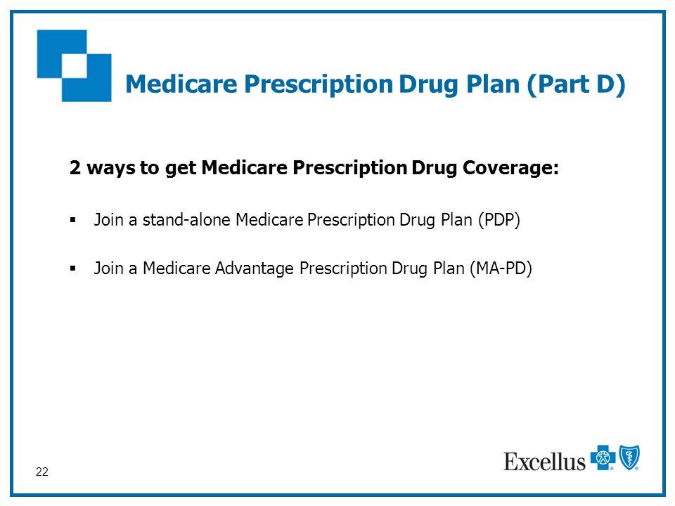 22 Medicare Prescription Drug Plan (Part D) 2 ways to get Medicare Prescription Drug Coverage:  Join a stand-alone Medicare Prescription Drug Plan (P
