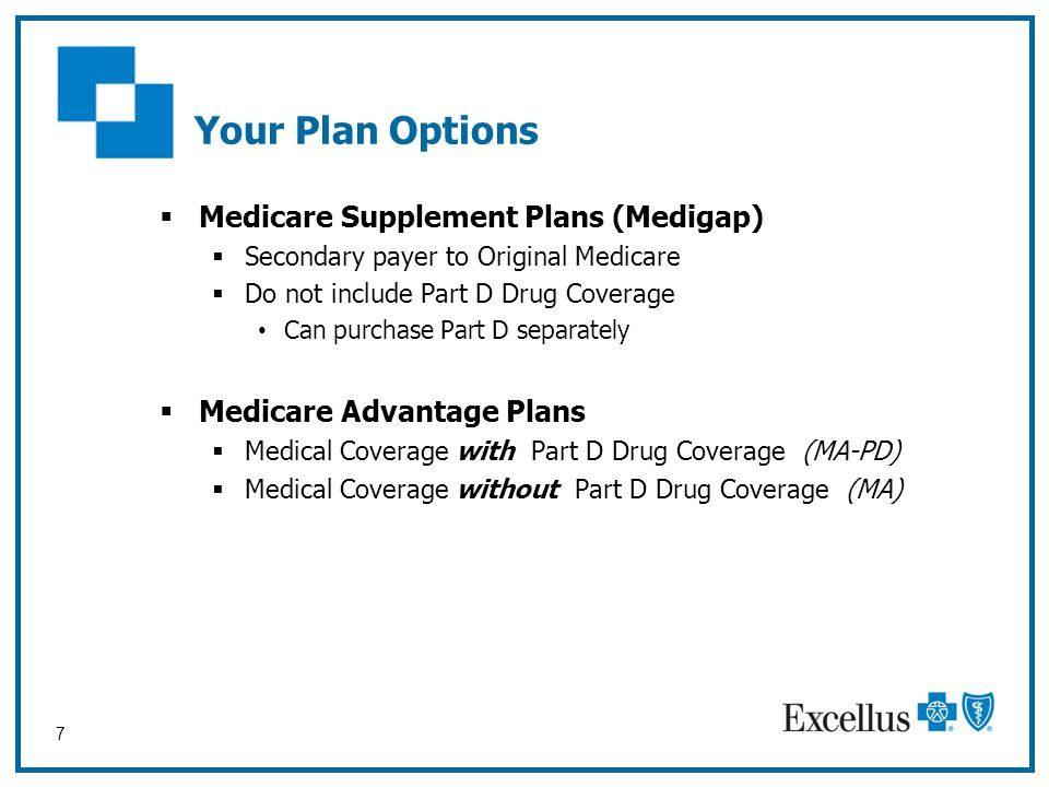7 Your Plan Options  Medicare Supplement Plans (Medigap)  Secondary payer to Original Medicare  Do not include Part D Drug Coverage Can purchase Pa