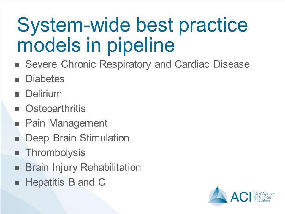 System-wide best practice models in pipeline Severe Chronic Respiratory and Cardiac Disease Diabetes Delirium Osteoarthritis Pain Management Deep Brain Stimulation Thrombolysis Brain Injury Rehabilitation Hepatitis B and C