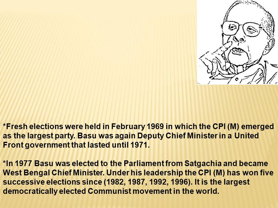 *Basu was a member of the CPI (M) s Politburo since 1964.
