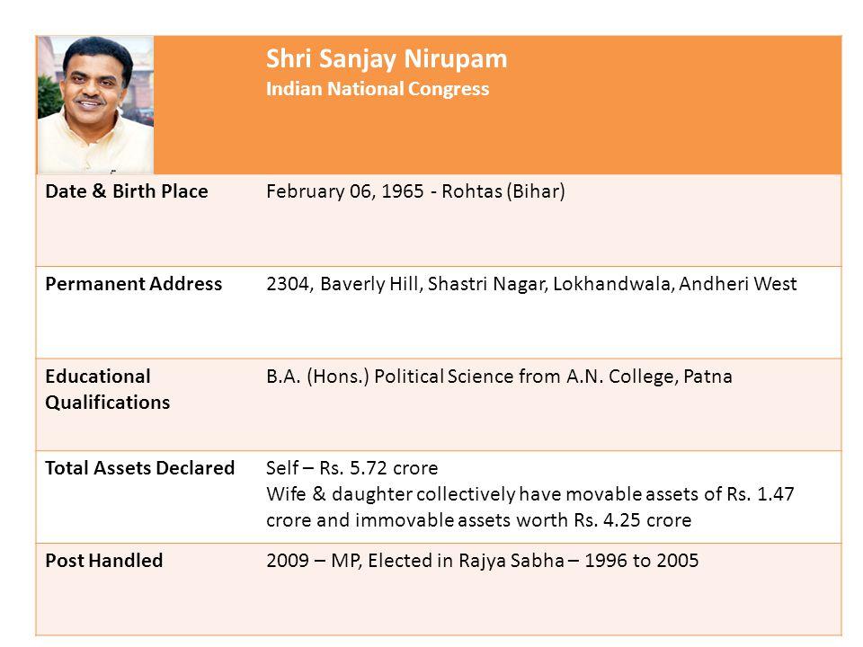 Shri Sanjay Nirupam Indian National Congress Date & Birth PlaceFebruary 06, 1965 - Rohtas (Bihar) Permanent Address2304, Baverly Hill, Shastri Nagar, Lokhandwala, Andheri West Educational Qualifications B.A.