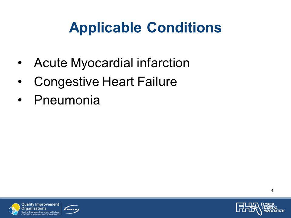 Applicable Conditions Acute Myocardial infarction Congestive Heart Failure Pneumonia 4