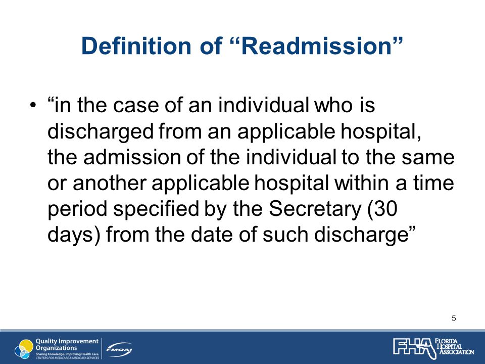Definition of Readmission in the case of an individual who is discharged from an applicable hospital, the admission of the individual to the same or another applicable hospital within a time period specified by the Secretary (30 days) from the date of such discharge 5