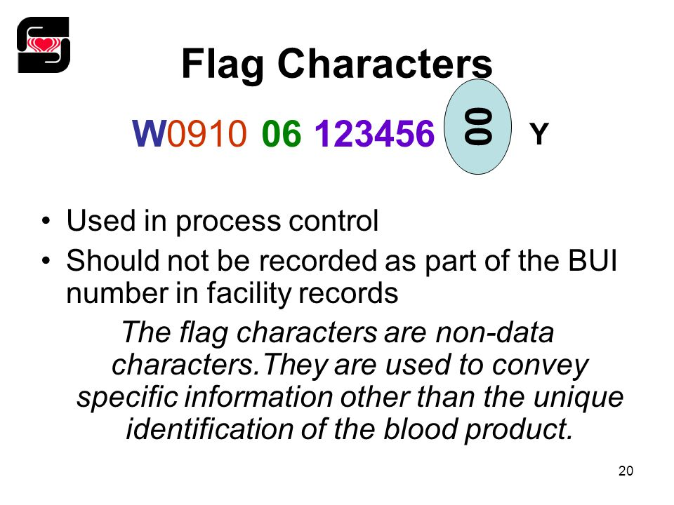 20 Flag Characters Used in process control Should not be recorded as part of the BUI number in facility records The flag characters are non-data chara