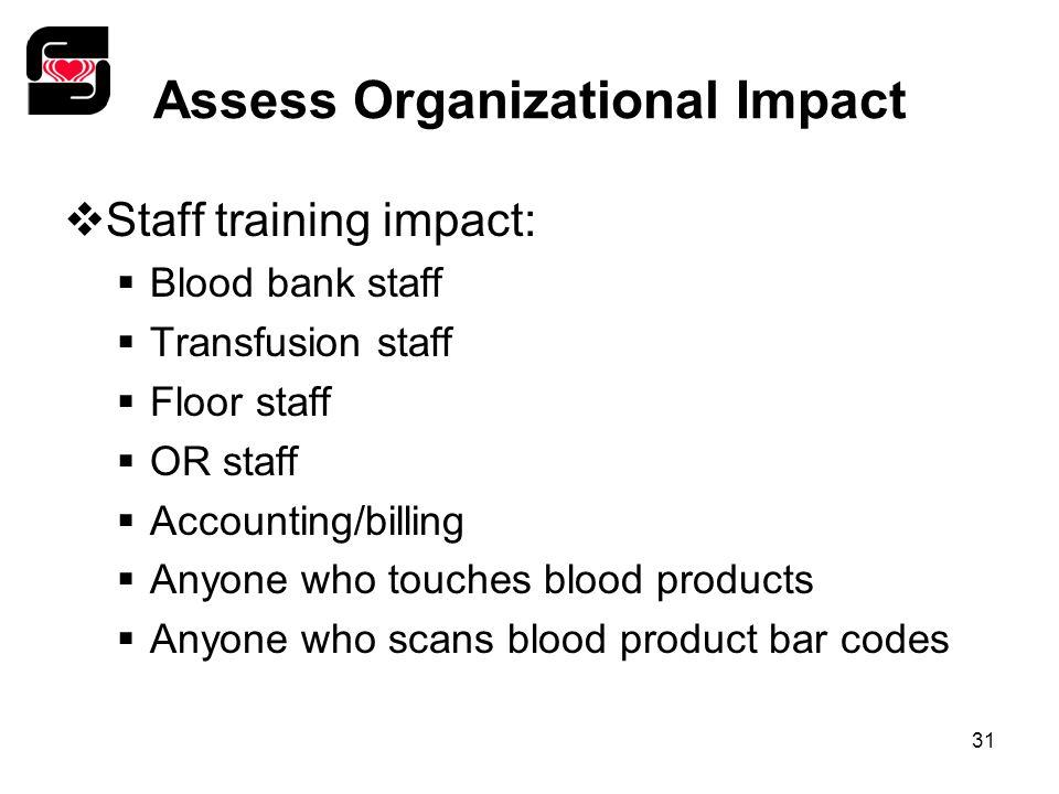 31 Assess Organizational Impact  Staff training impact:  Blood bank staff  Transfusion staff  Floor staff  OR staff  Accounting/billing  Anyone