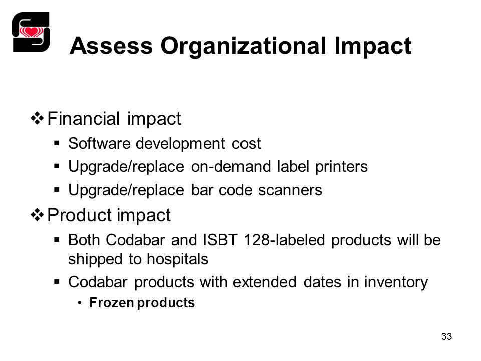 33 Assess Organizational Impact  Financial impact  Software development cost  Upgrade/replace on-demand label printers  Upgrade/replace bar code scanners  Product impact  Both Codabar and ISBT 128-labeled products will be shipped to hospitals  Codabar products with extended dates in inventory Frozen products