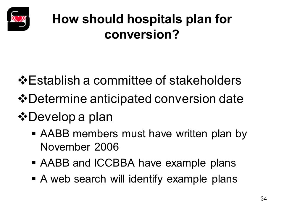 34 How should hospitals plan for conversion.
