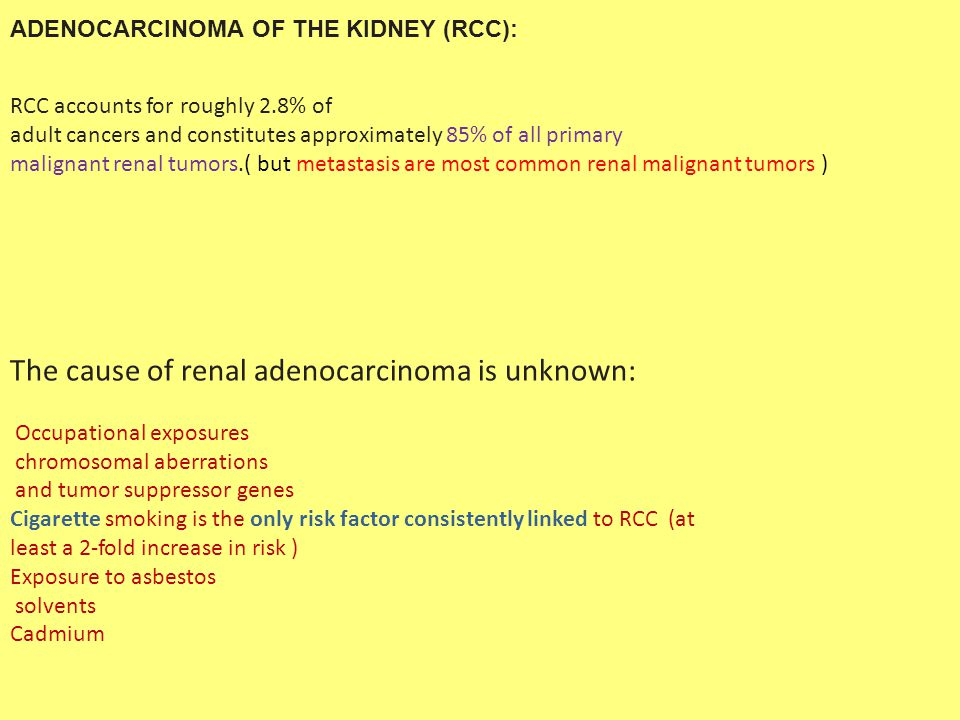ADENOCARCINOMA OF THE KIDNEY (RCC): RCC accounts for roughly 2.8% of adult cancers and constitutes approximately 85% of all primary malignant renal tu