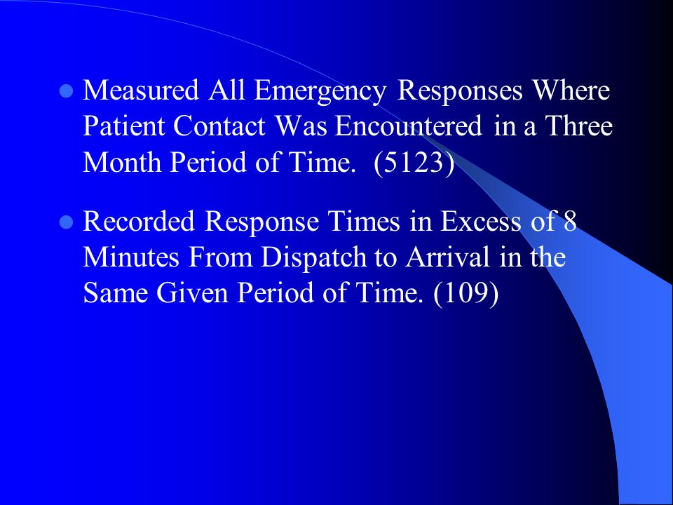 Measured All Emergency Responses Where Patient Contact Was Encountered in a Three Month Period of Time.