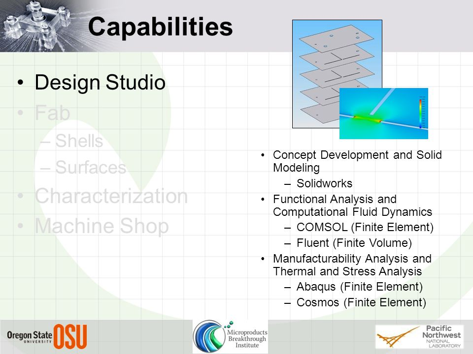 Capabilities Design Studio Fab –Shells –Surfaces Characterization Machine Shop Concept Development and Solid Modeling –Solidworks Functional Analysis and Computational Fluid Dynamics –COMSOL (Finite Element) –Fluent (Finite Volume) Manufacturability Analysis and Thermal and Stress Analysis –Abaqus (Finite Element) –Cosmos (Finite Element)