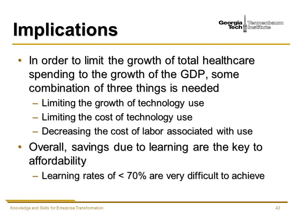 Knowledge and Skills for Enterprise Transformation.43 Implications In order to limit the growth of total healthcare spending to the growth of the GDP, some combination of three things is neededIn order to limit the growth of total healthcare spending to the growth of the GDP, some combination of three things is needed –Limiting the growth of technology use –Limiting the cost of technology use –Decreasing the cost of labor associated with use Overall, savings due to learning are the key to affordabilityOverall, savings due to learning are the key to affordability –Learning rates of < 70% are very difficult to achieve