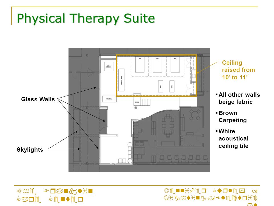 Physical Therapy Suite The Franklin Care Center Jennifer Curley – Lighting/Electric al Ceiling raised from 10' to 11' Skylights Glass Walls  All other walls beige fabric  Brown Carpeting  White acoustical ceiling tile