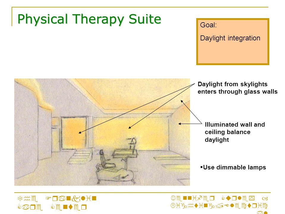 Goal: Daylight integration Physical Therapy Suite The Franklin Care Center Jennifer Curley – Lighting/Electric al Daylight from skylights enters through glass walls Illuminated wall and ceiling balance daylight  Use dimmable lamps