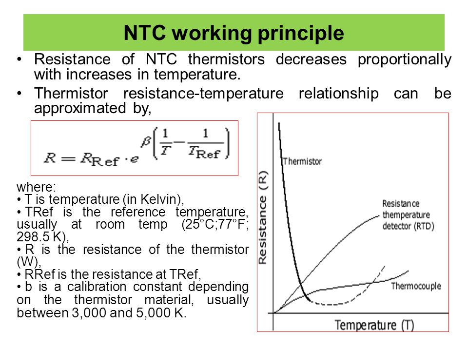NTC working principle Resistance of NTC thermistors decreases proportionally with increases in temperature. Thermistor resistance-temperature relation