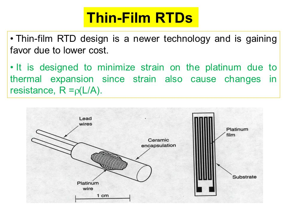 Thin-Film RTDs Thin-film RTD design is a newer technology and is gaining favor due to lower cost. It is designed to minimize strain on the platinum du