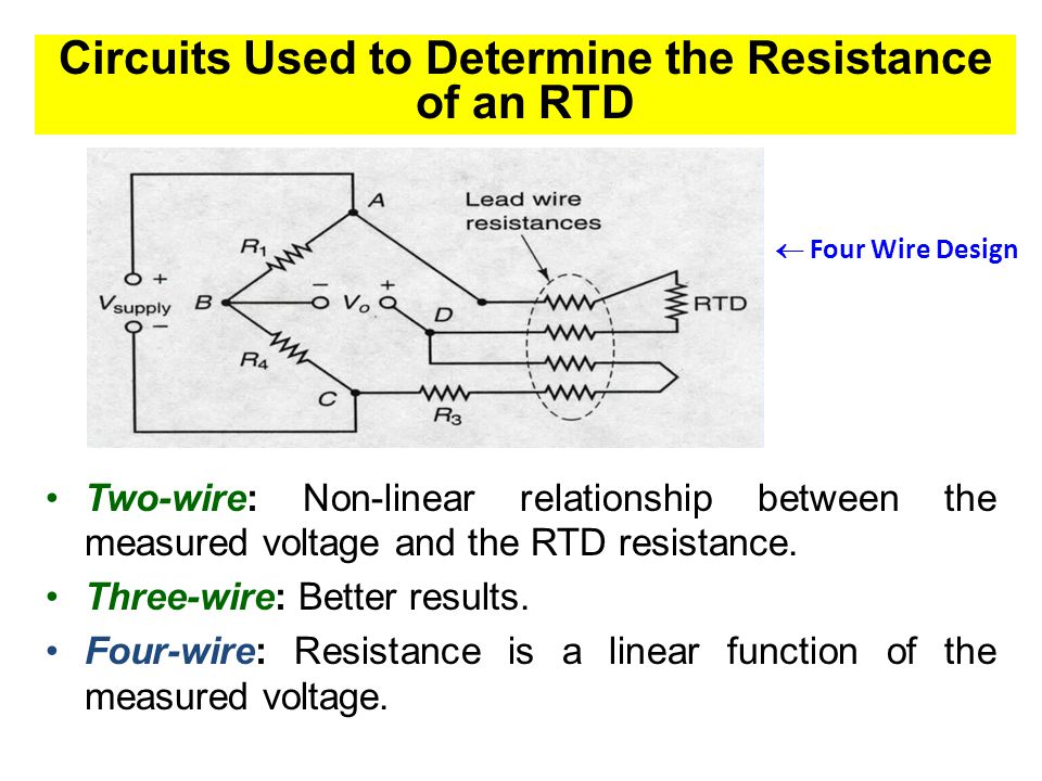 Circuits Used to Determine the Resistance of an RTD Two-wire: Non-linear relationship between the measured voltage and the RTD resistance. Three-wire: