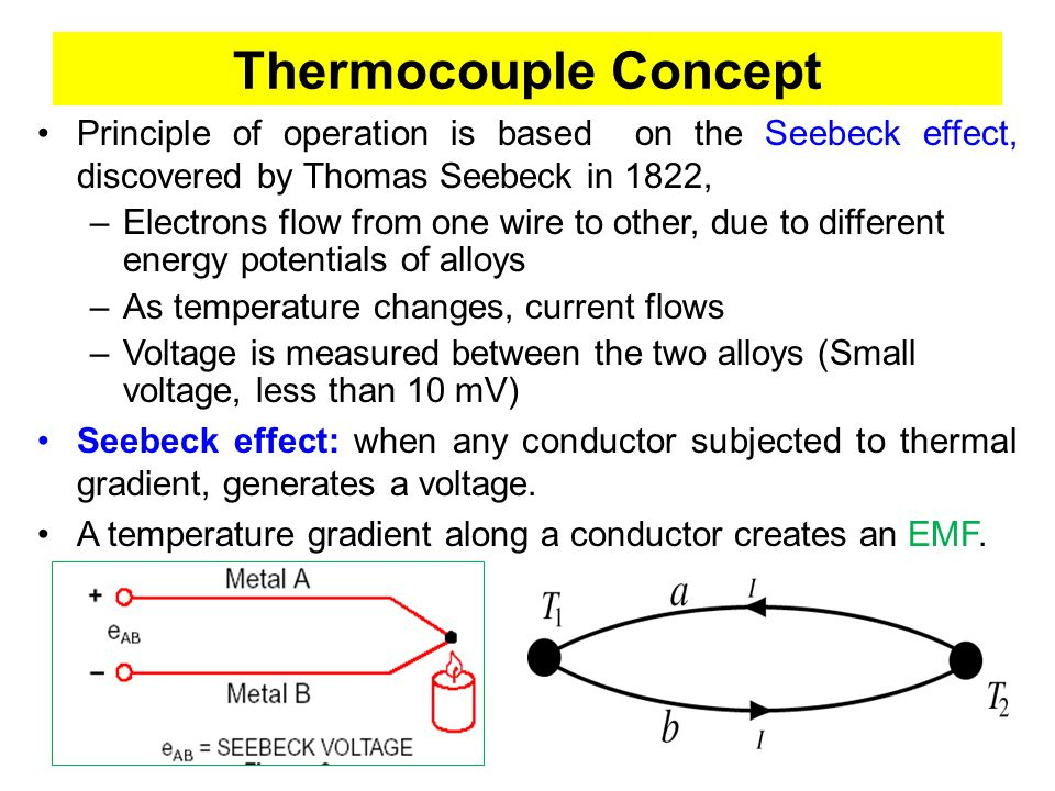 Thermocouple Concept…… If two conductors of different materials are joined at one point, an EMF is created between the open ends which is dependent upon the temperature of the junction.