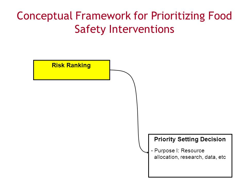 10 Food SafetyResearch Consortium Conceptual Framework Risk Ranking Priority Setting Decision - Purpose I: Resource allocation, research, data, etc Conceptual Framework for Prioritizing Food Safety Interventions