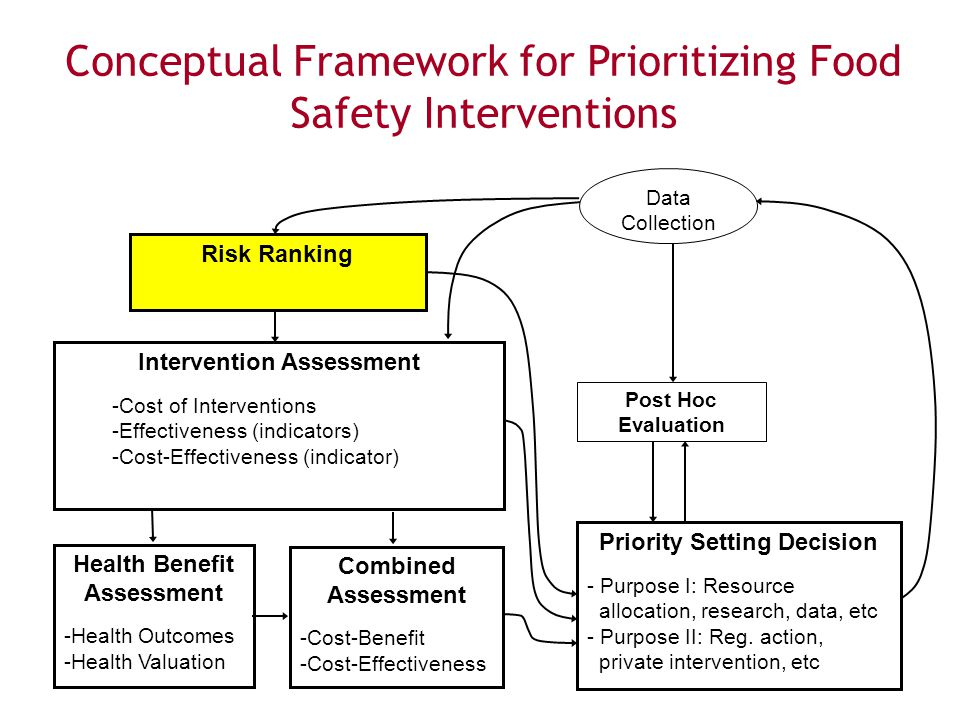 13 Food SafetyResearch Consortium Conceptual Framework Intervention Assessment -Cost of Interventions -Effectiveness (indicators) -Cost-Effectiveness (indicator) Risk Ranking Health Benefit Assessment -Health Outcomes -Health Valuation Combined Assessment -Cost-Benefit -Cost-Effectiveness Priority Setting Decision - Purpose I: Resource allocation, research, data, etc - Purpose II: Reg.