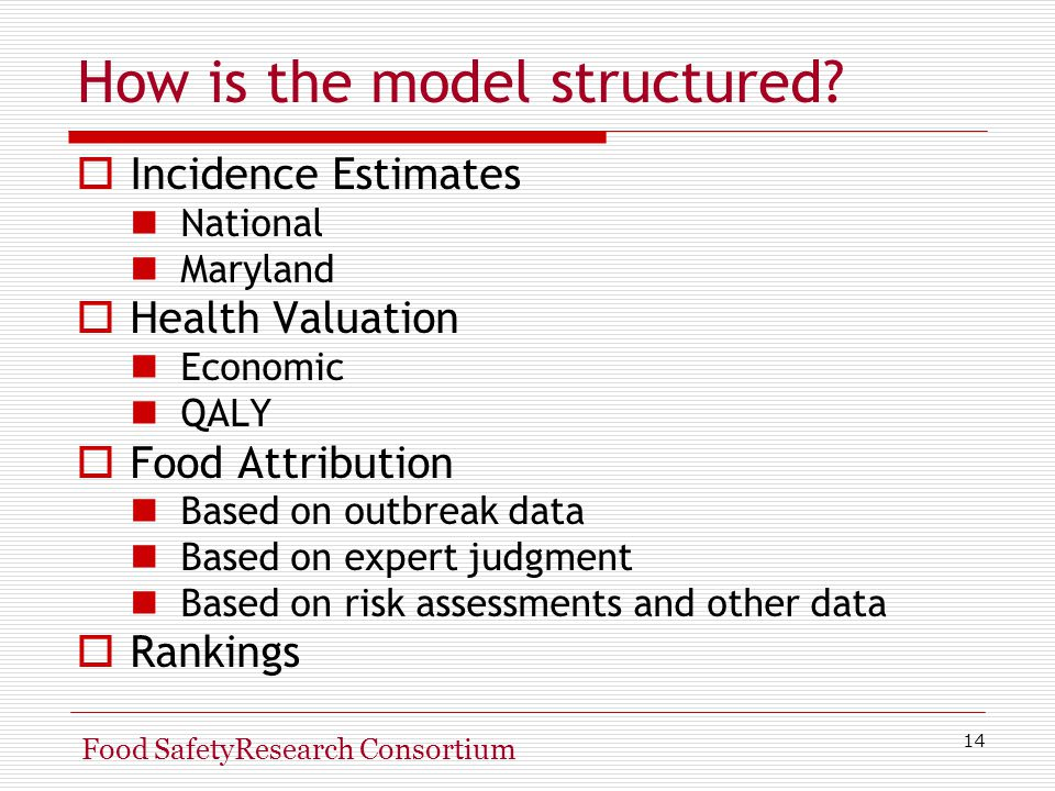 14 Food SafetyResearch Consortium How is the model structured.