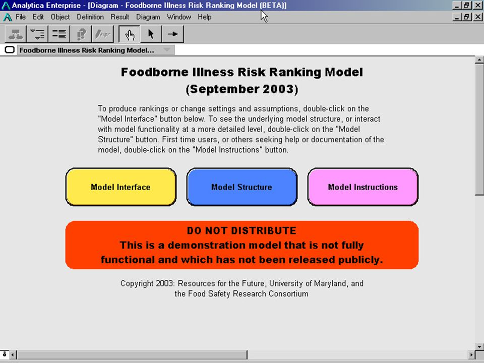 27 Food SafetyResearch Consortium Interface 1  Insert screen grab: main model screen  Say: open the model and interact by double-clicking… double-click on 'model interface' to run some scenarios