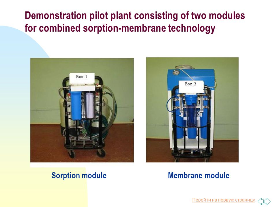 Перейти на первую страницу Demonstration pilot plant consisting of two modules for combined sorption-membrane technology Sorption module Membrane module