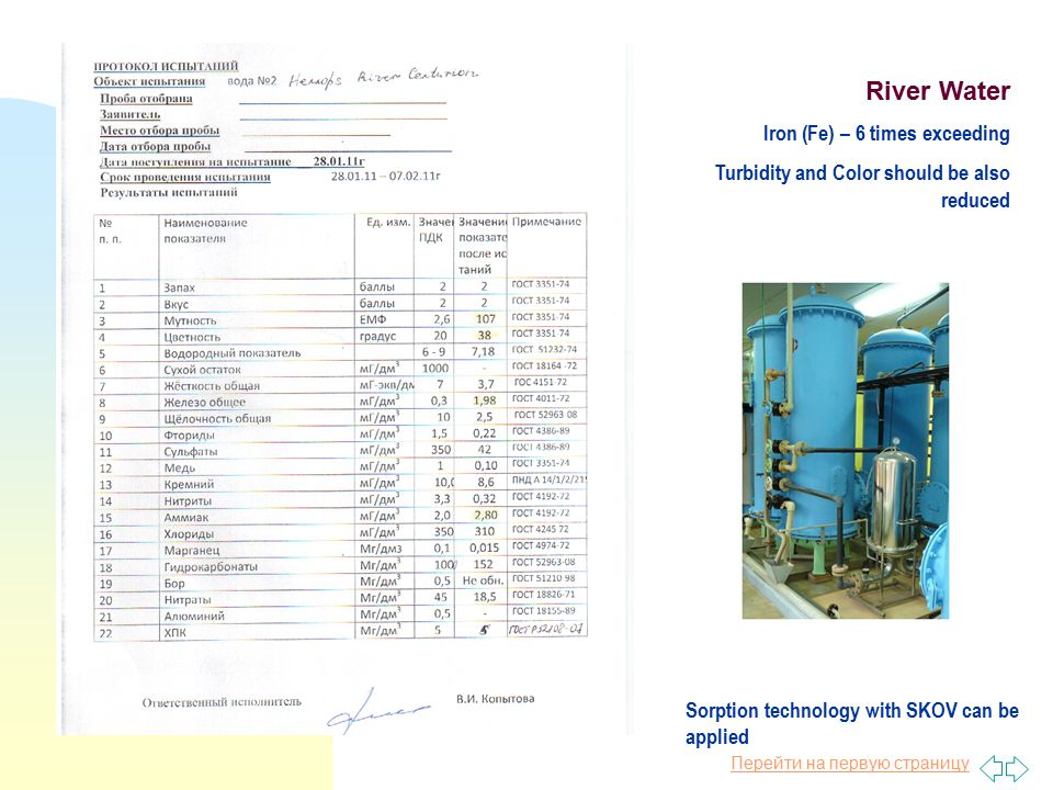 Перейти на первую страницу River Water Iron (Fe) – 6 times exceeding Turbidity and Color should be also reduced Sorption technology with SKOV can be applied