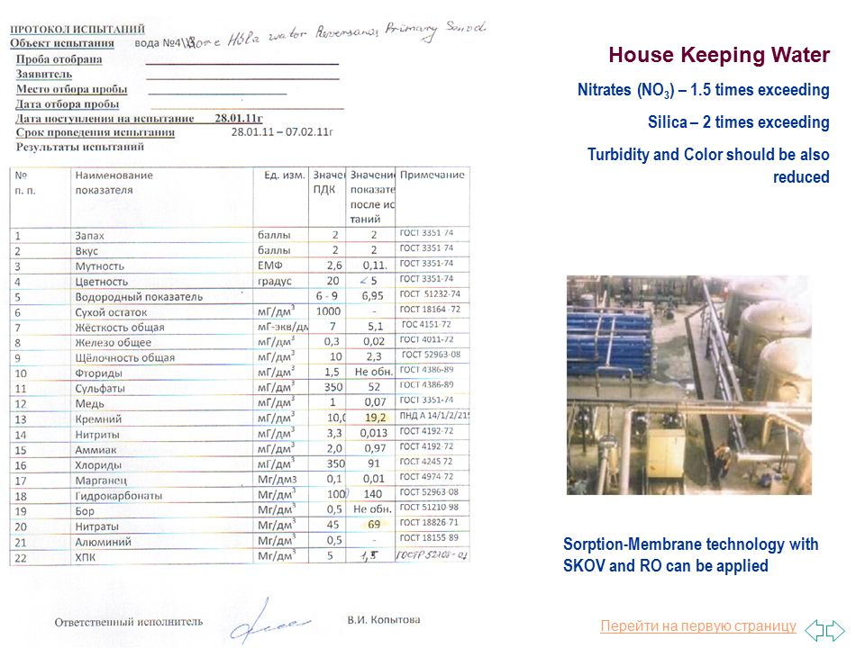 Перейти на первую страницу House Keeping Water Nitrates (NO 3 ) – 1.5 times exceeding Silica – 2 times exceeding Turbidity and Color should be also reduced Sorption-Membrane technology with SKOV and RO can be applied