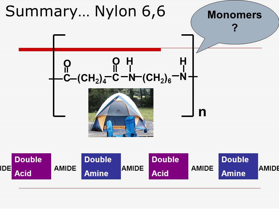 Summary… Nylon 6,6 n Double Acid Double Amine AMIDE Double Acid Double Amine AMIDE C O (CH 2 ) 4 C O N H (CH 2 ) 6 N H Monomers