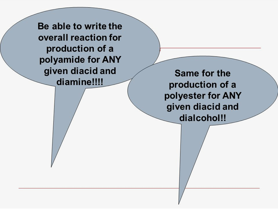 Be able to write the overall reaction for production of a polyamide for ANY given diacid and diamine!!!.