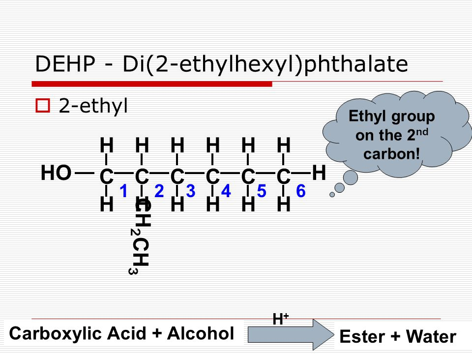  2-ethyl DEHP - Di(2-ethylhexyl)phthalate CCCCCC HHHHHH HHHHHH H Ethyl group on the 2 nd carbon.