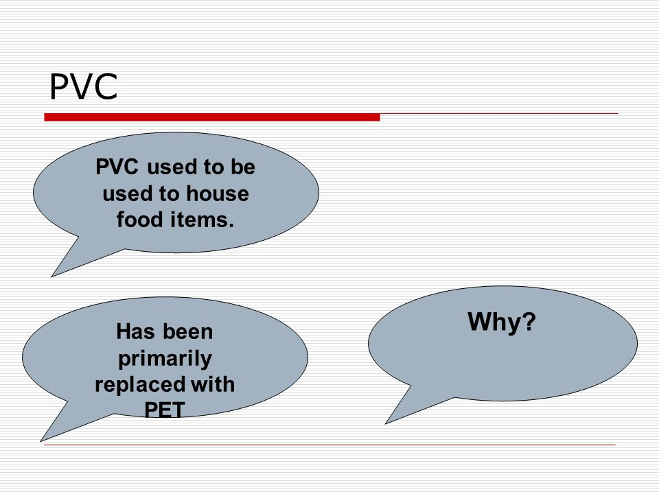 PVC Has been primarily replaced with PET Why PVC used to be used to house food items.