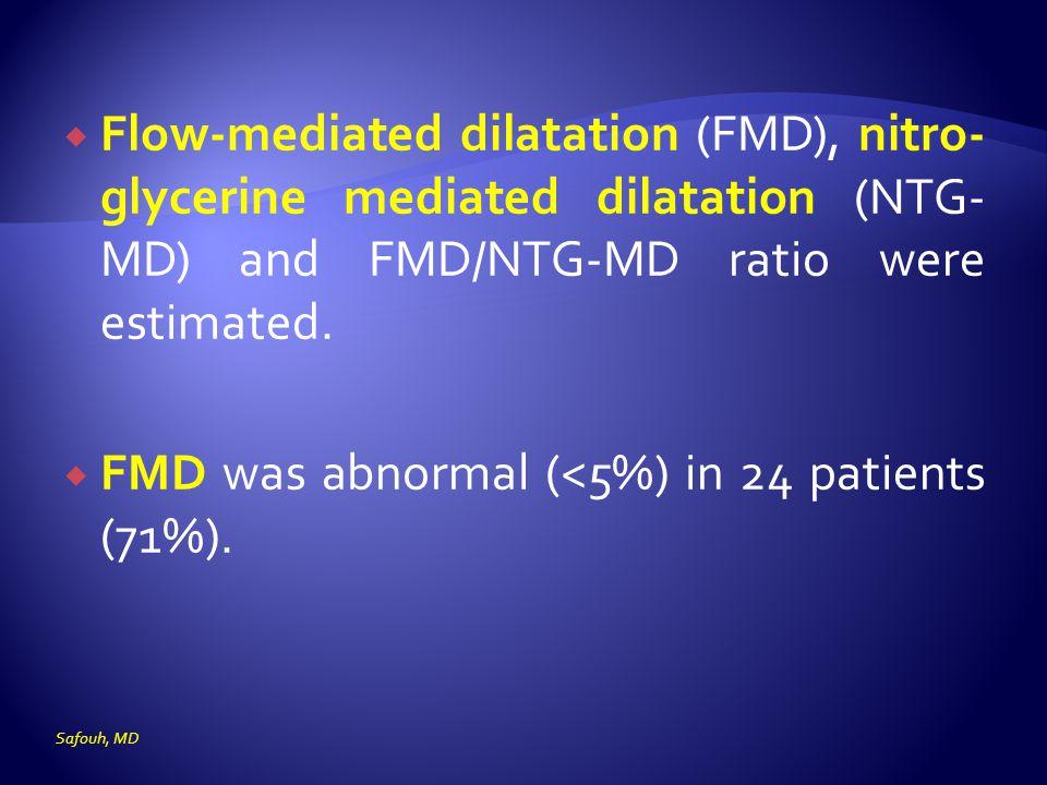  Flow-mediated dilatation (FMD), nitro- glycerine mediated dilatation (NTG- MD) and FMD/NTG-MD ratio were estimated.