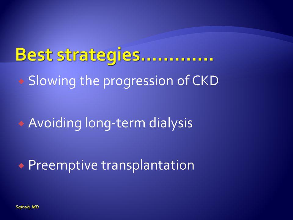  Slowing the progression of CKD  Avoiding long-term dialysis  Preemptive transplantation Safouh, MD