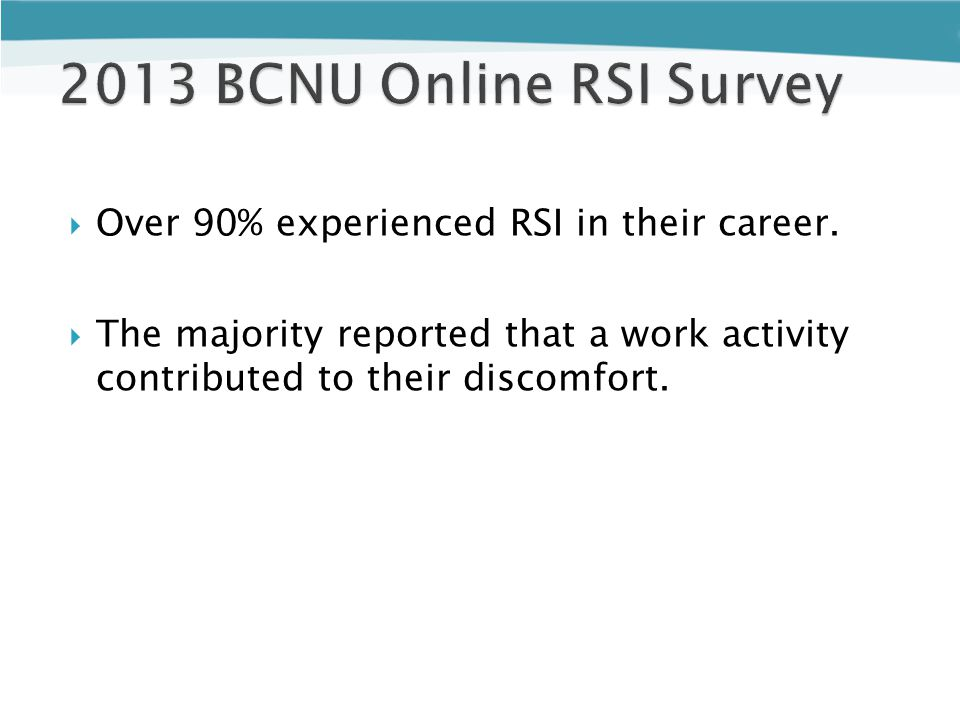  Over 90% experienced RSI in their career.