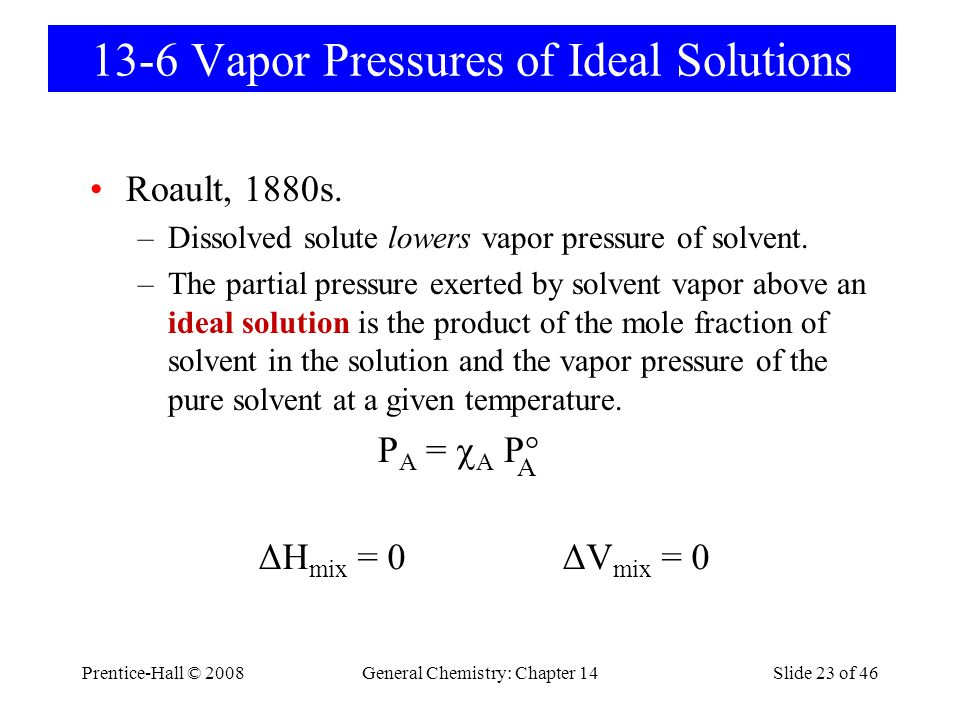 Prentice-Hall © 2008General Chemistry: Chapter 14Slide 23 of 46 13-6 Vapor Pressures of Ideal Solutions Roault, 1880s. –Dissolved solute lowers vapor