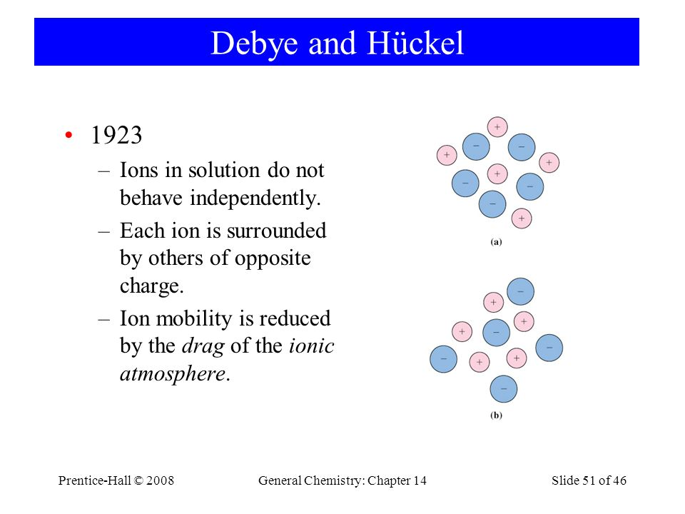Prentice-Hall © 2008General Chemistry: Chapter 14Slide 51 of 46 Debye and Hückel 1923 –Ions in solution do not behave independently. –Each ion is surr